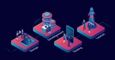 Innovative IT industry startup workflow development concept