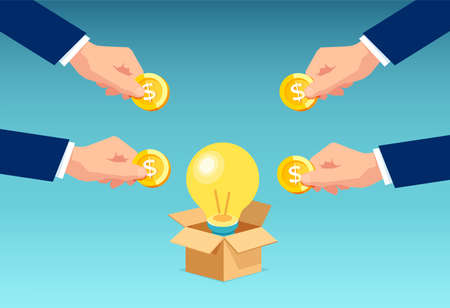 Vector of businesspeople investing money in bright idea