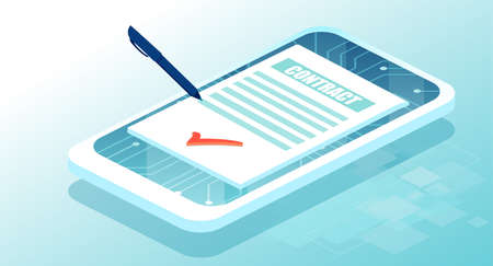Electronic contract or digital signature concept via smartphone app