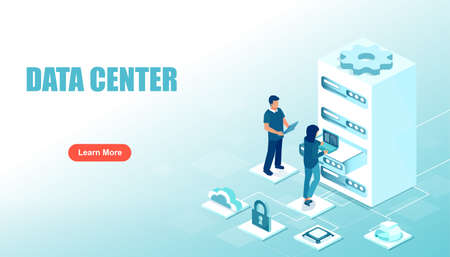 Data center concept. Vector of a technical support team maintain server equipment Ilustrace