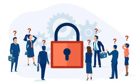 Vector of confused business people looking at locked padlock
