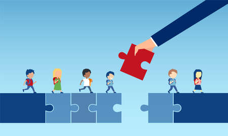 Vector of a business man hand holding a puzzle piece bridging the gap in primary education for children passing by Ilustrace