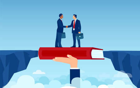 Vector of handshaking businessmen overcoming disagreements bridging the gap having a deal Ilustrace