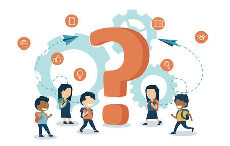 Vector of little kids students standing around a big question mark