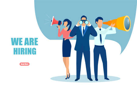 Vector of office workers a recruiting team looking for a new employee.