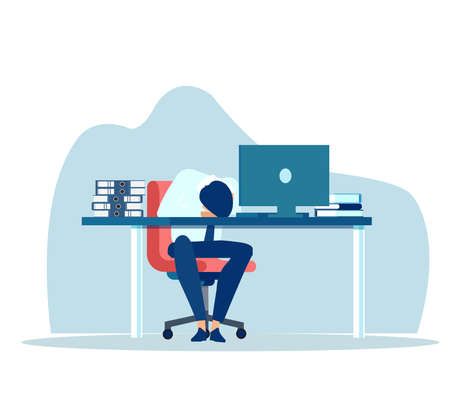 Vector of an exhausted tired businessman in office sitting with head down on desk