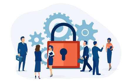 Vector of business people and clients having secure communication