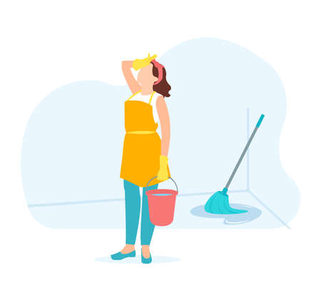 Vector of a tired frustrated female housekeeper