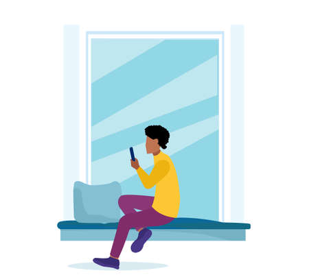 Vector of a young man sitting by the window using mobile phone