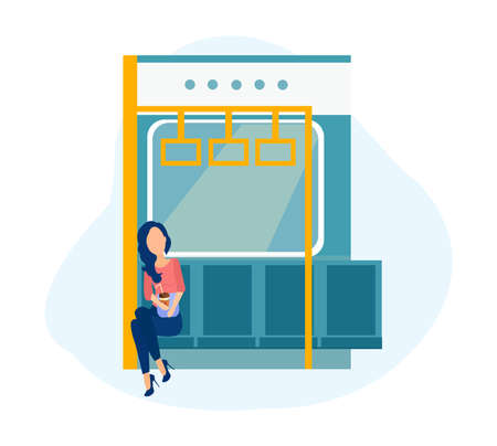 Vector of a young woman riding in the subway