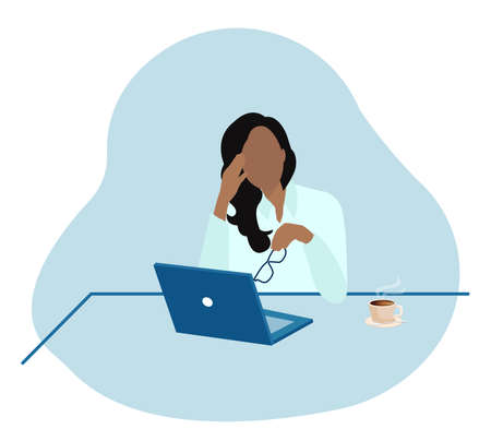 Vector of an exhausted tired businesswoman in office sitting at desk feeling depressed