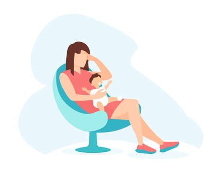 Vector of a sad woman with a child in her arms. Postpartum depression concept.