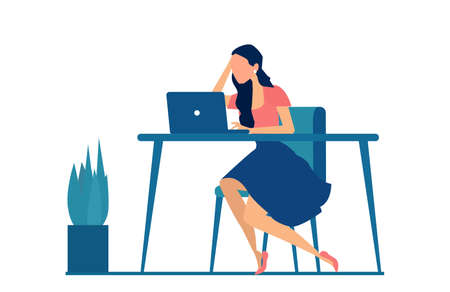 Vector of a stressed business woman sitting at desk working on computer
