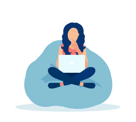 Vector of a young woman freelancer working on laptop at home.