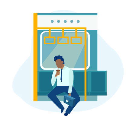 Vector of a sleepy office worker, a businessman feeling tired riding in a subway Ilustrace