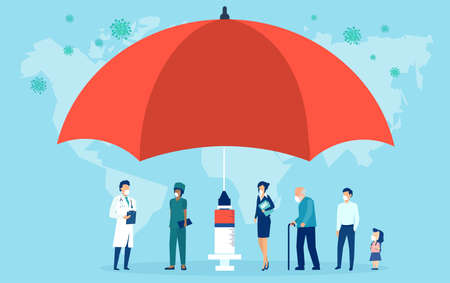 Vaccination concept. Vector of an umbrella shaped syringe with vaccine for COVID-19 and risk group of people waiting in line