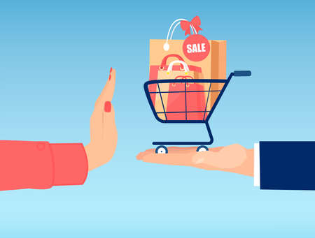 Vector of a woman hand with stop gesture rejecting shopping bags with products on sale