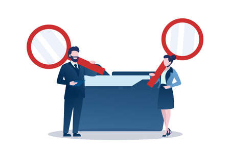 Vector of a businessman and businesswoman with magnifying glass searching files in a data folder. Ilustrace