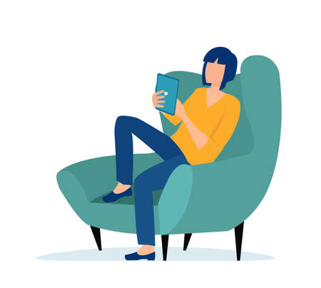 Vector of a young casual woman sitting in armchair using tablet computer isolated on white background