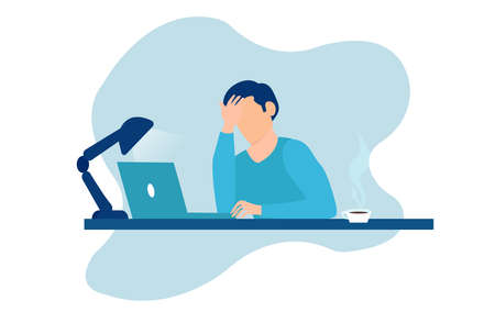 Vector of stressed tired young man sitting at table working on laptop computer