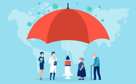 Vaccination concept. Vector of an umbrella shaped syringe with vaccine for COVID-19 and elderly people waiting in line to receive a vaccine