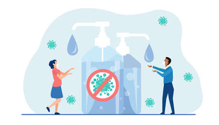 Vector of a man and woman wearing face masks washing hands using hand sanitizer to prevent virus infection