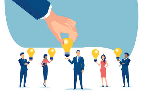 Vector of a businessman hand picking idea light bulb from one of the company employees