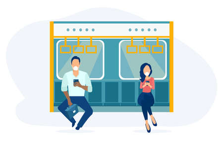 Vector of a young man and a woman in public transport wearing face masks 矢量图像
