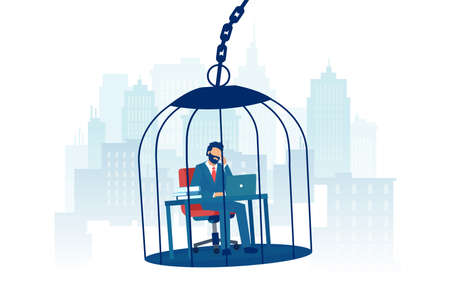 Vector of a sad businessman working at desk inside a birdcage on a city background