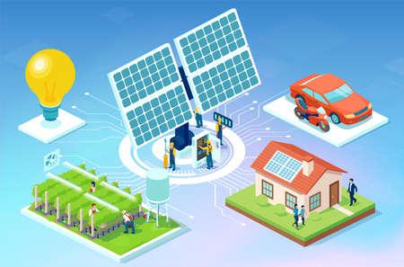 Vector of a farm, house and car powered by a solar panel energy