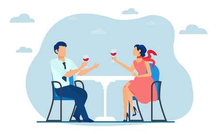 Vector of a young man and woman sitting it the restaurant terrace drinking wine.