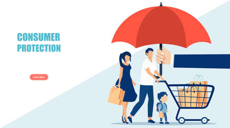 Vector of a young family with shopping cart under umbrella. Consumer protection concept