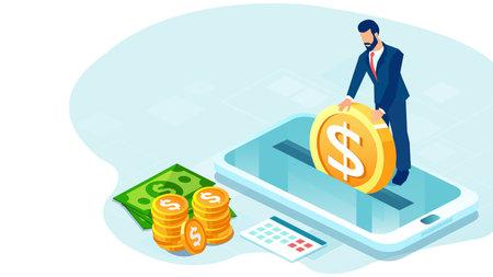 Vector of a businessman making money deposit via mobile app