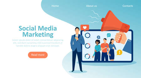 Digital social media marketing concept, landing page