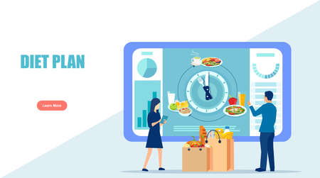 Vector of a man and woman using diet app showing nutrition facts and diet plan. Healthy eating and technology concept 矢量图像