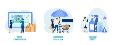 Consumer protection, product safety, and buyers rights concept. Vector of shoppers being protected shopping safely