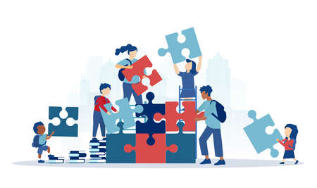 Vector of a diverse group of children students assembling a puzzle 矢量图像