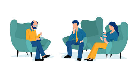 Vector of a young couple with a child getting counseling from a psychologist 矢量图像