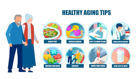 Vector of a senior couple man and woman following doctor advice on healthy aging