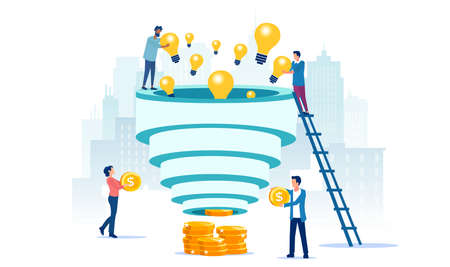 Vector of a team of creative people converting bright ideas into money