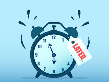 Vector of a ringing alarm clock with a later note written on it