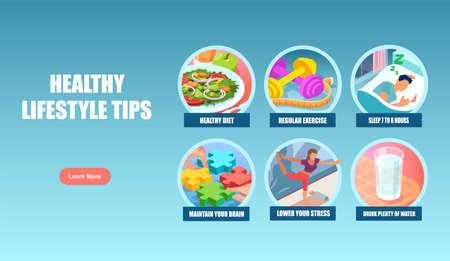Vector banner poster of healthy lifestyle tips Ilustração