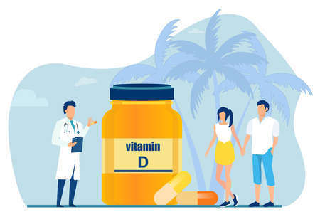Vector of a doctor advising vitamin D supplements to a young couple Ilustração