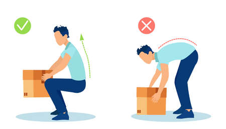 Vector of a man lifting up a heavy box in a safe and unsafe way for his back.