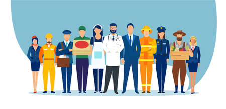 Vector of a diverse group of people of different professions