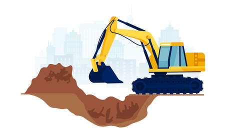 Vector of a construction site with yellow excavator moving with raised shovel digging soil Ilustração