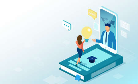 Vector of a student using online education app being advised by internet tutor