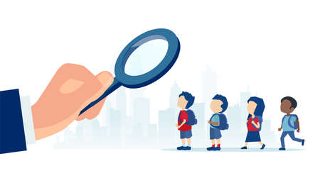 Vector of a businessman with magnifying glass looking for a talent among young kids Ilustração