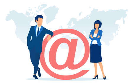 Vector of a businessman and a businesswoman standing near an email symbol