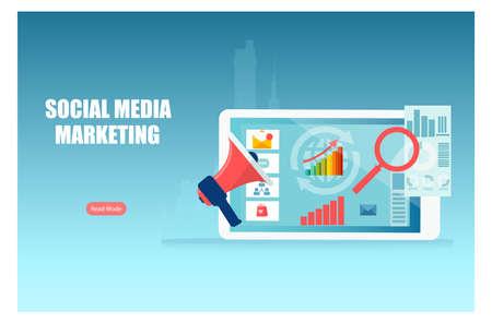 Social media digital marketing and sales data analysis concept Ilustração